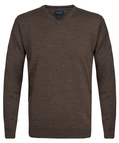 Taupe Merino Wool V-neck Pullover