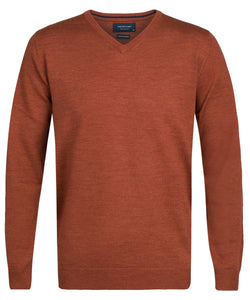 Rust Merino Wool V-neck Pullover