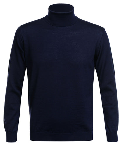 Navy Merino Wool Roll-neck Pullover