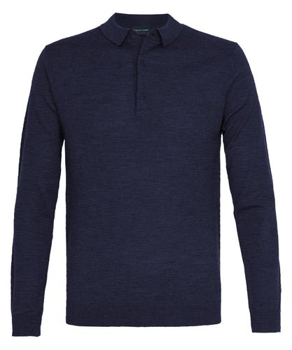 Navy Merino Wool Longsleeve Polo Shirt
