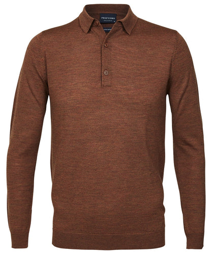 Rust Merino Wool Longsleeve Polo Shirt