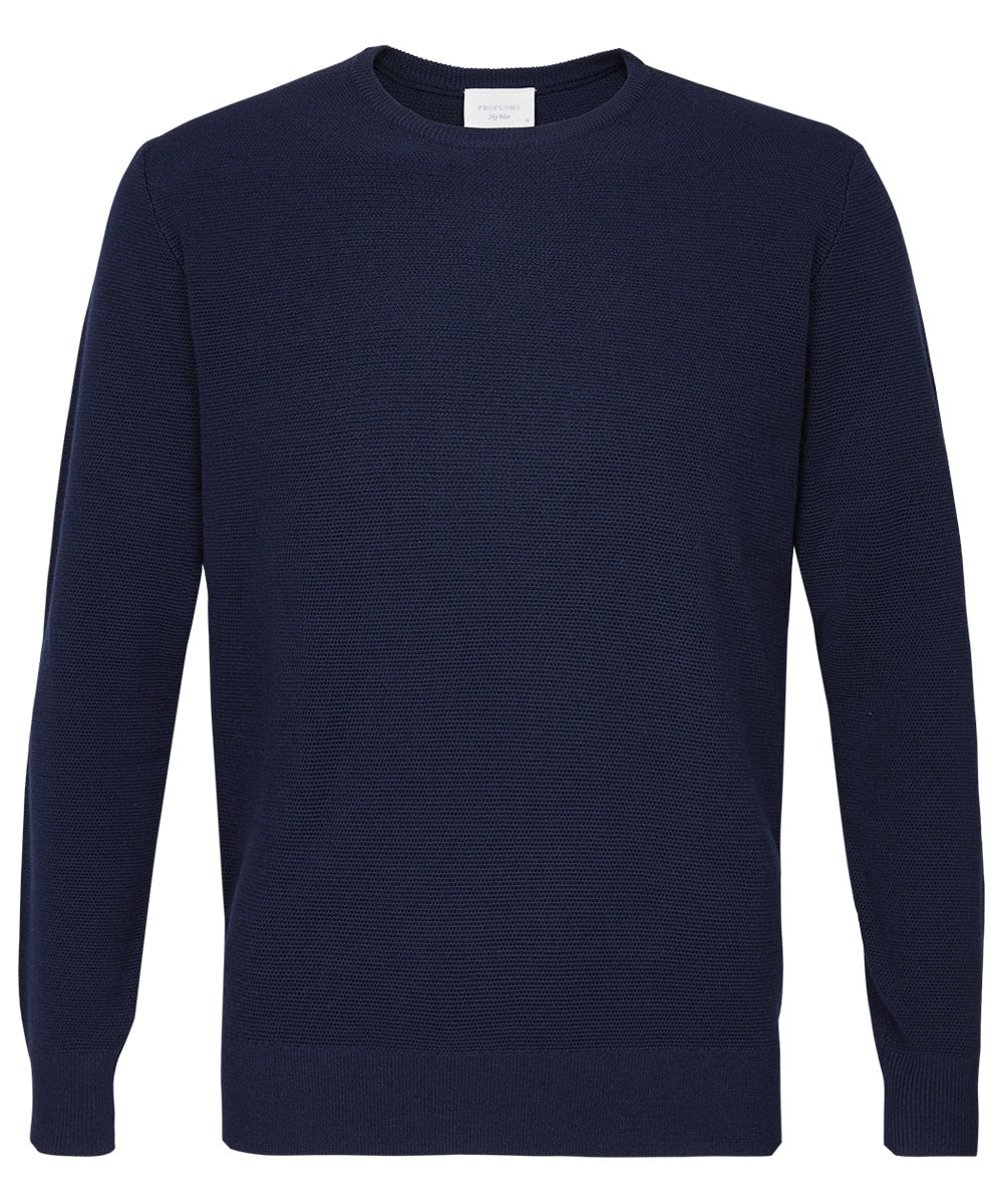 Navy Wool & Cotton Crewneck Pullover