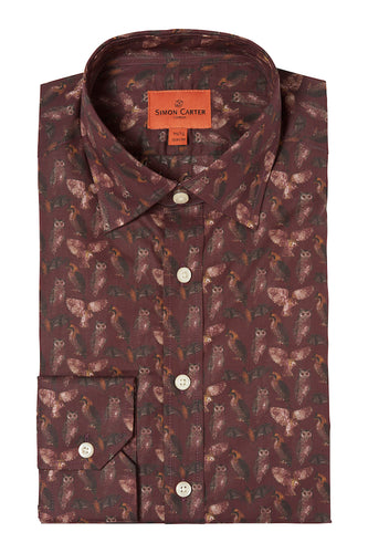 Owl Eagle & Bat Burgundy Print Shirt