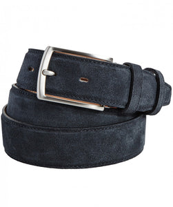 Navy Suede Topstitch Belt