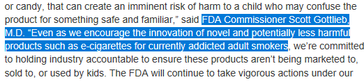 FDA thinking about vape in a good way