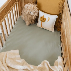 NEW! Sage Fitted Jersey Cot Sheet