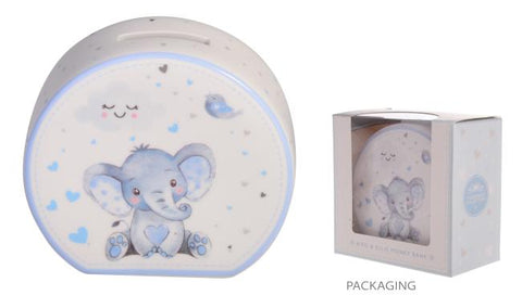 BABY ELEPHANT BOYS MONEY BOX