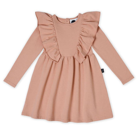Dusty Rose Waisted Ruffle Dress | Kapow Kids