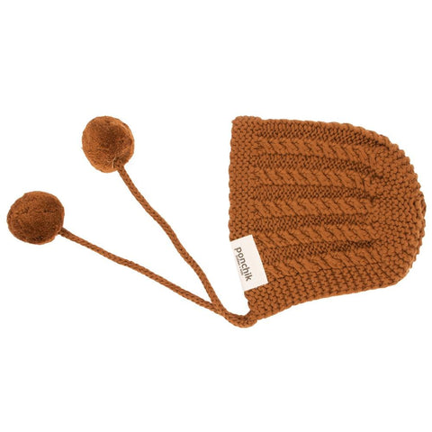 Knitted Pom Pom Bonnet - Maple Syrup