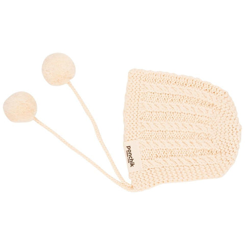 Knitted Pom Pom Bonnet - Oatmeal