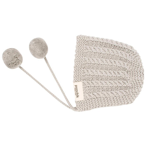 Knitted Pom Pom Bonnet - Pebble