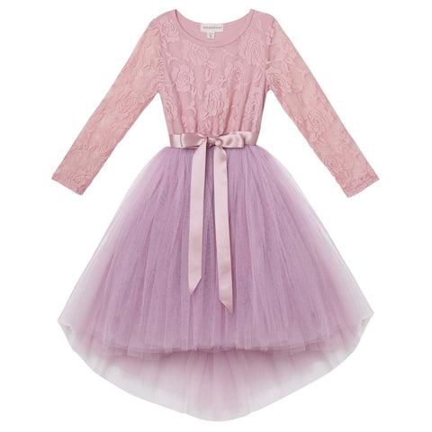 CANDI L/S LACE TUTU DRESS - TRUFFLE