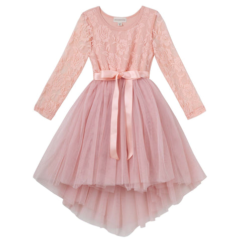 CANDI L/S LACE TUTU DRESS - TEA ROSE