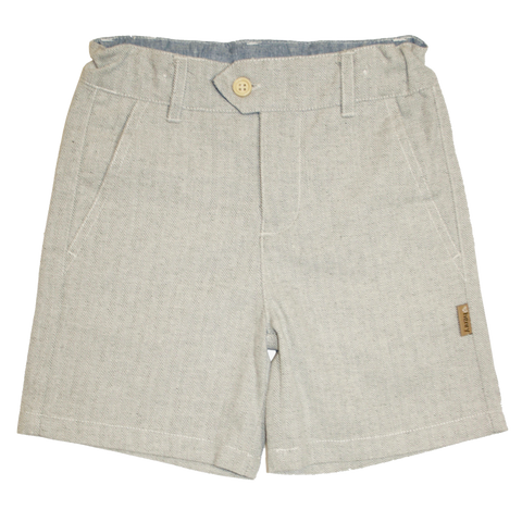 Boys Tailored Shorts - Ice Grey Herringbone