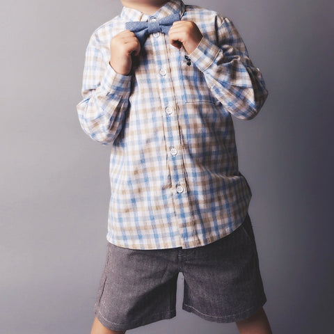 Boys Tailored Shorts - Brown Herringbone