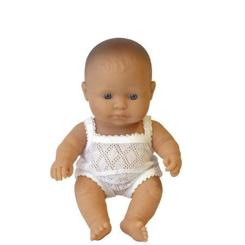Miniland Doll - Caucasian Baby Girl 21cm | Anatomically Correct Baby Doll