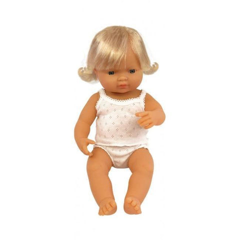 Miniland Doll - Anatomically Correct Baby, Caucasian Girl, 38 cm -