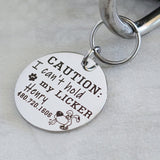 Caution: I can't hold my licker silver round personalized dog name tag