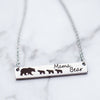 mama bear spirit animal mom with cubs mother's silver rose yellow gold bar necklace