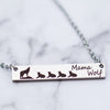 mama wolf spirit animal with pups mother's bar necklace