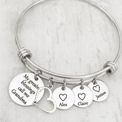 my greatest blessings call me. charm bracelet for grandma