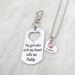 The girl who stole my heart calls me daddy keychain gift to dad from daughter