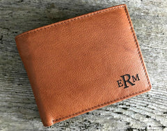 monogrammed leather wallet tan brown