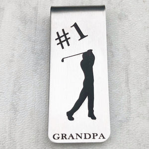 #1 Dad - Silver Golf Money Clip