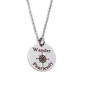 """Wander Fearlessly"" Inspirational Compass  Silver Necklace"
