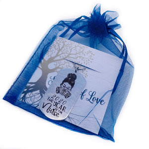 item shown in blue organza gift bag