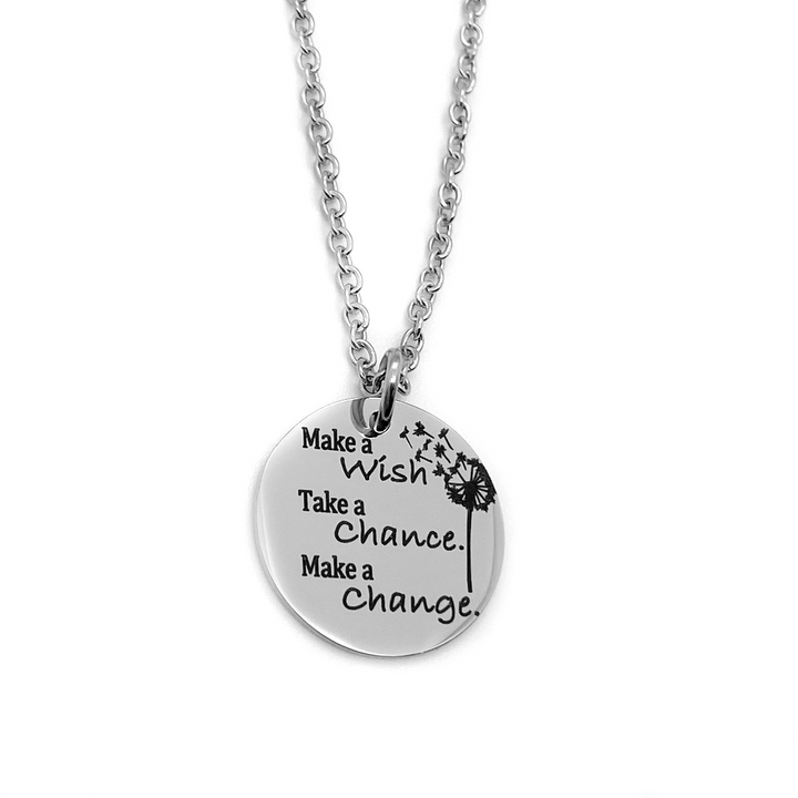 "Silver Dandelion Wish Necklace ""Make a Wish. Take a Chance. Make a Change"""