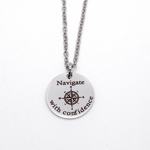 "Silver Compass Inspirational Necklace ""Navigate with Confidence"""