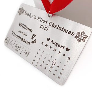 Baby's First Christmas Personalized Birth Stat Ornament