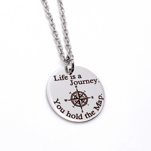 """Life is a Journey. You hold the Map"" Silver Compass Inspirational Necklace"