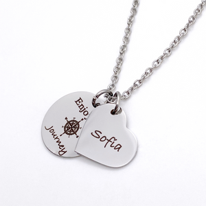 "Silver Compass Inspirational Necklace ""Enjoy the Journey"""