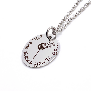 """Oh, the places you'll go..."" Silver Dandelion Necklace"