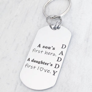 Detail of stainless steel keychain engraved for Dad