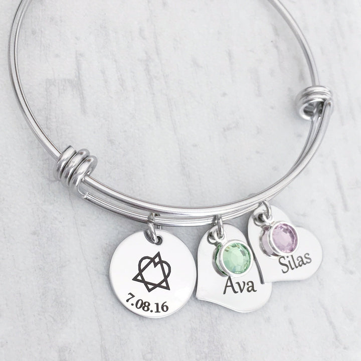 adoption triad bracelet with custom birthstone, date of adoption and name