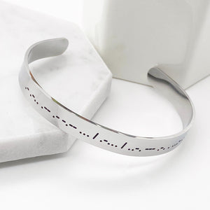 always and forever dots and dashes Morse code silver cuff bracelet side view