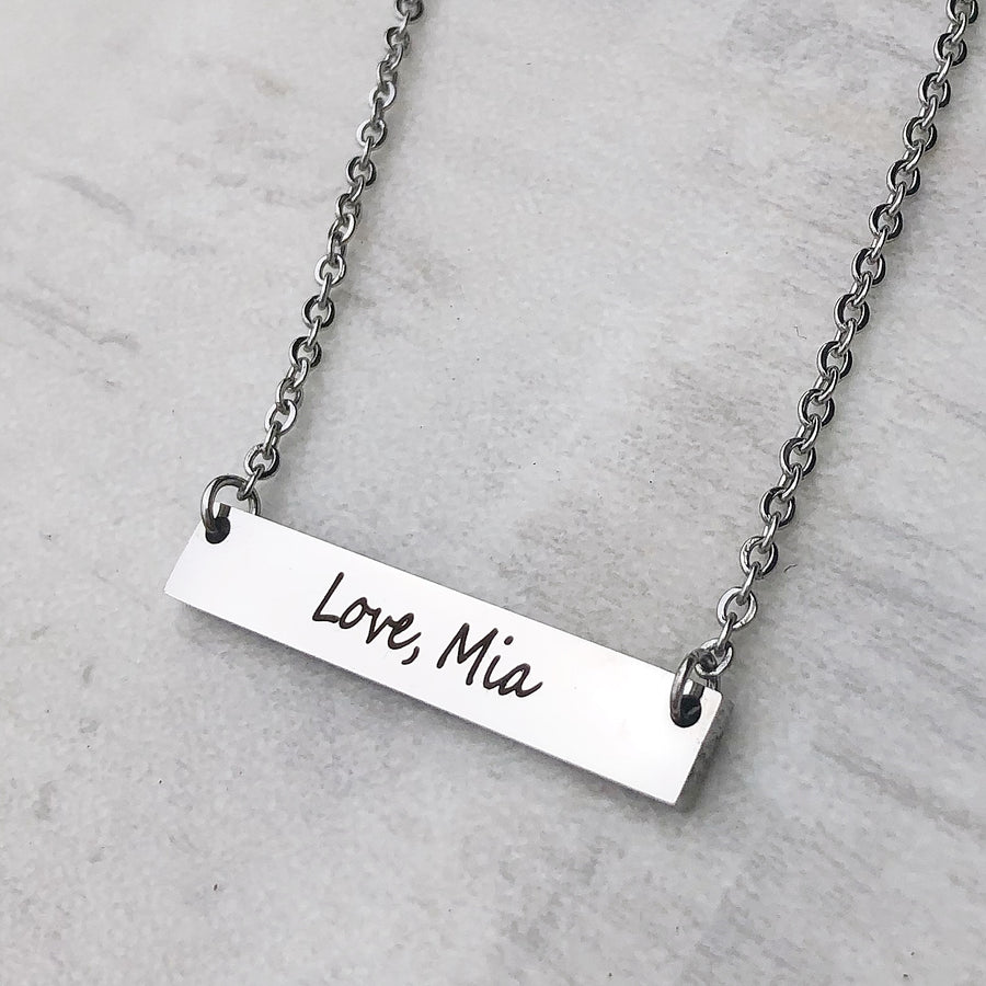 personalized love mia on the back of the bar necklace
