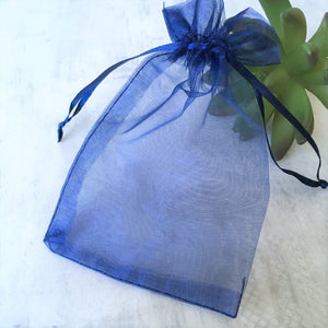 blue organza gift bag stamps of love
