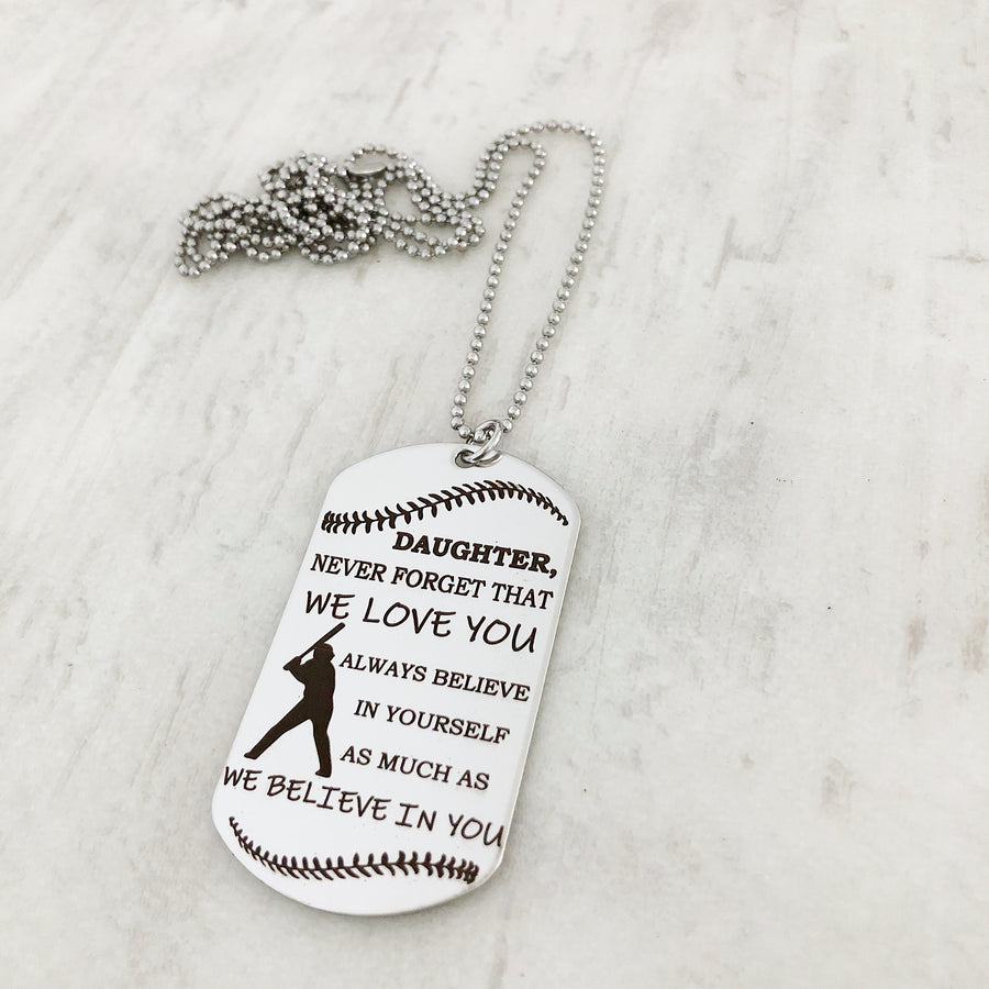 encouragement not baseball daughter dog tag necklace gift from parents christmsa socking stuffer