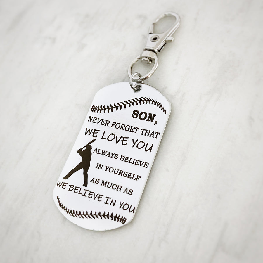 baseball encouragement message gift dog tag for son key chain from parents christmas stocking stuffer