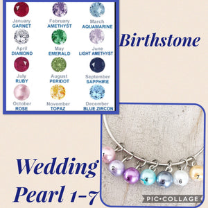 birthstone and pearl options