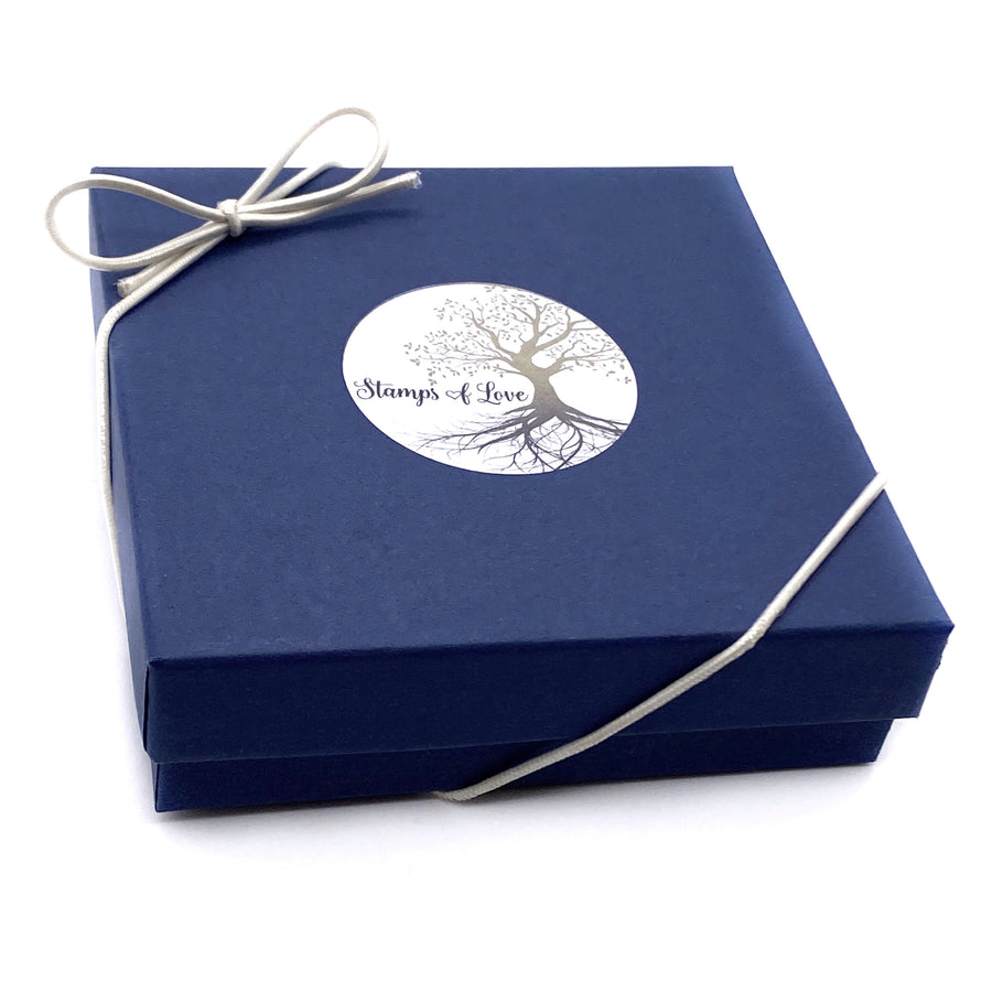 blue bracelet gift box with white bow stretch loop