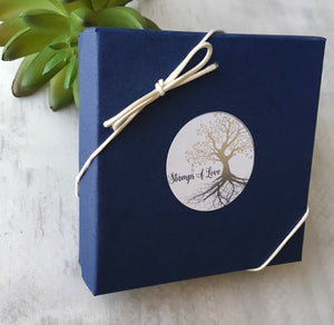Stamps of Love Blue Gift Box with Stretch Loop
