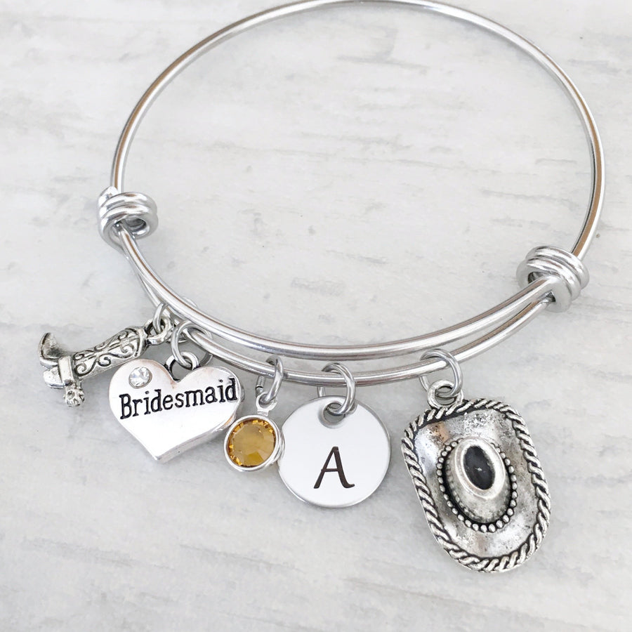cowboy boot hat bridesmaid iitial charm bracelet customized wedding gift