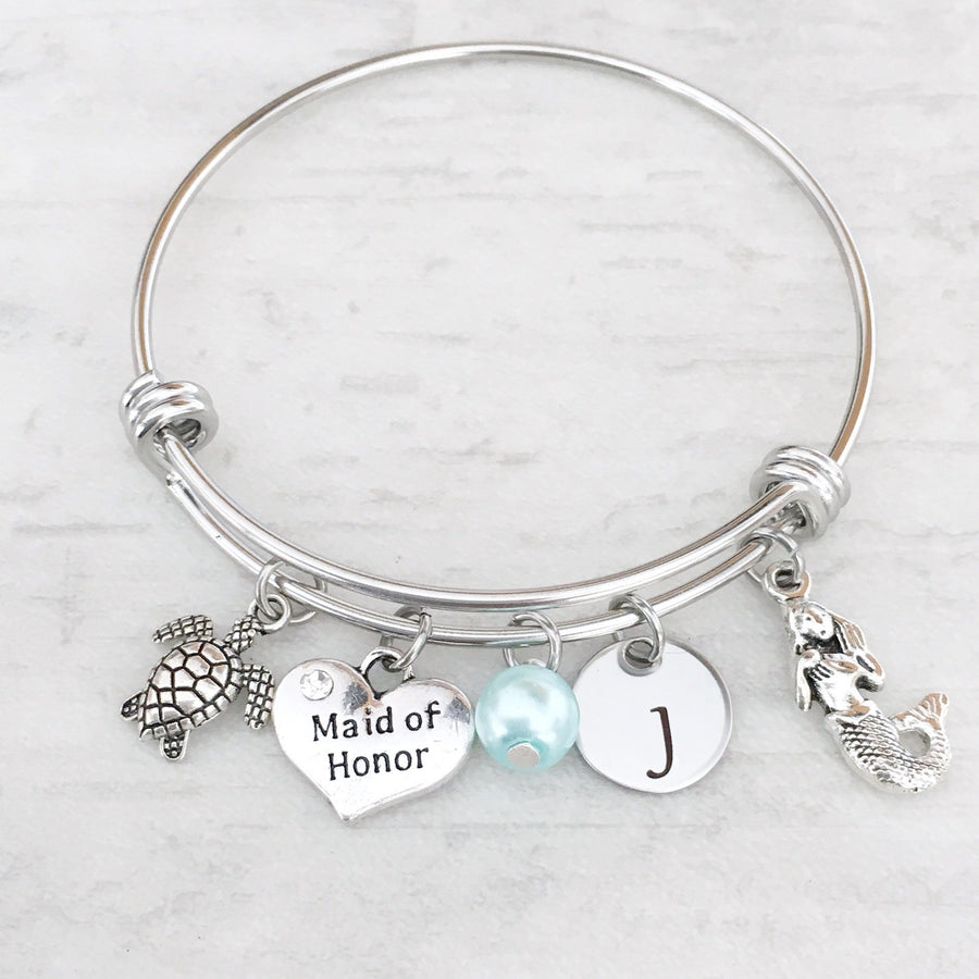Turtle Maid of Honor initial personalized charm bracelet mermaid tropical beach