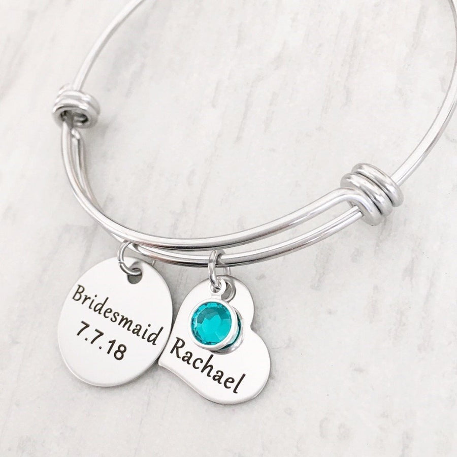 Bridesmaid bangle bracelet with date and name tag december stone