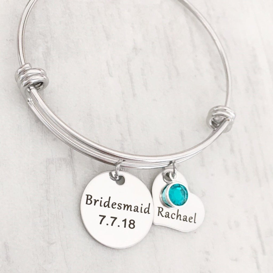 Bridesmaid bangle bracelet with date and name tag
